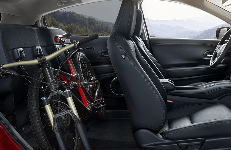 2020 Honda HR-V interior side view front seats and rear seats with bike