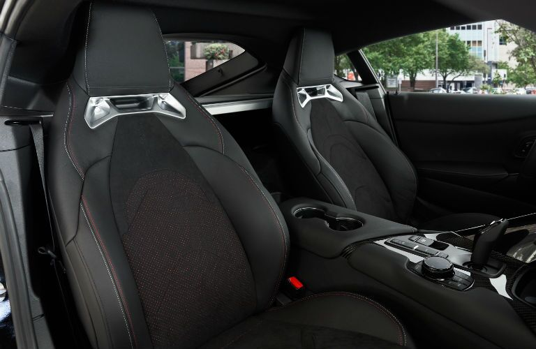 A photo of the front seats in the 2021 Toyota Supra.