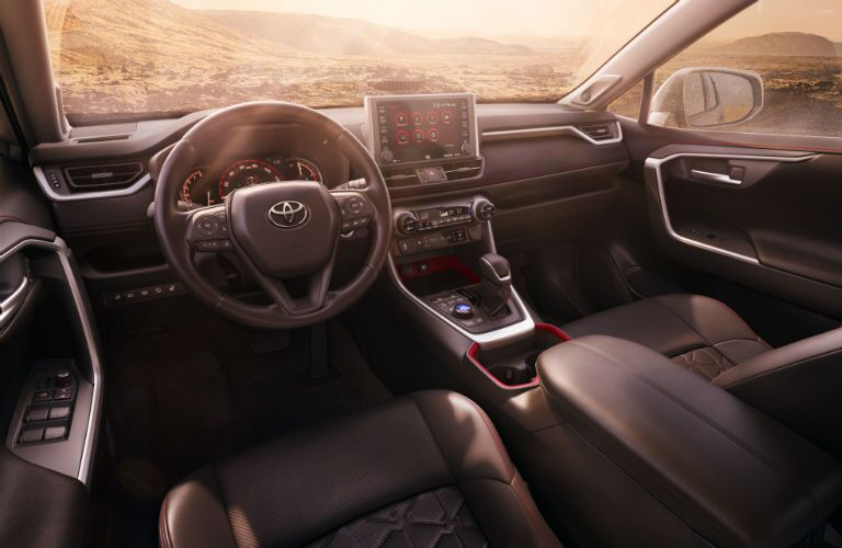 A photo of the dashboard used by the gas-powered 2020 Toyota RAV4.
