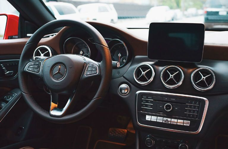 Steering wheel and dashboard in the 2019 Mercedes-Benz CLA Coupe