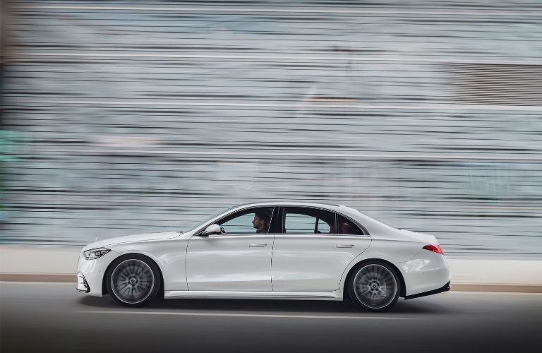 2021 MB S-Class exterior driver side profile next to blurred wall