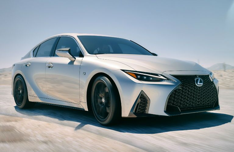 A front right quarter photo of the 2021 Lexus IS.