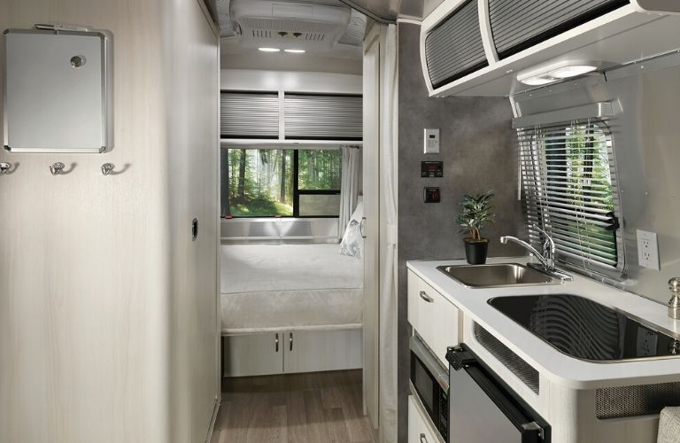 Interior view of the rear area inside a 2020 Airstream Bambi