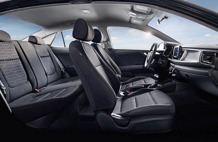 Interior view of the two rows of seating inside the 2020 Kia Rio