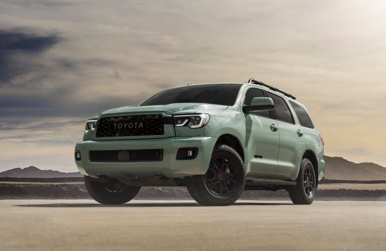 front view of the 2021 Toyota Sequoia parked in desert