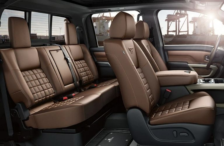 Interior view of the seating available inside a 2021 Nissan TITAN