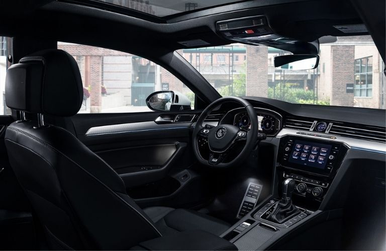 Interior view of the front seating area inside a 2020 Volkswagen Arteon