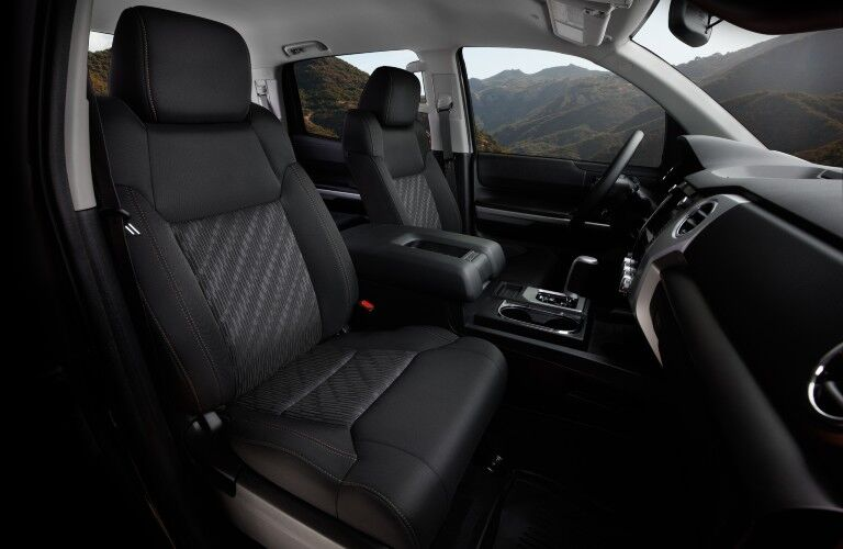 A photo of the front seats in the 2021 Toyota Tundra.