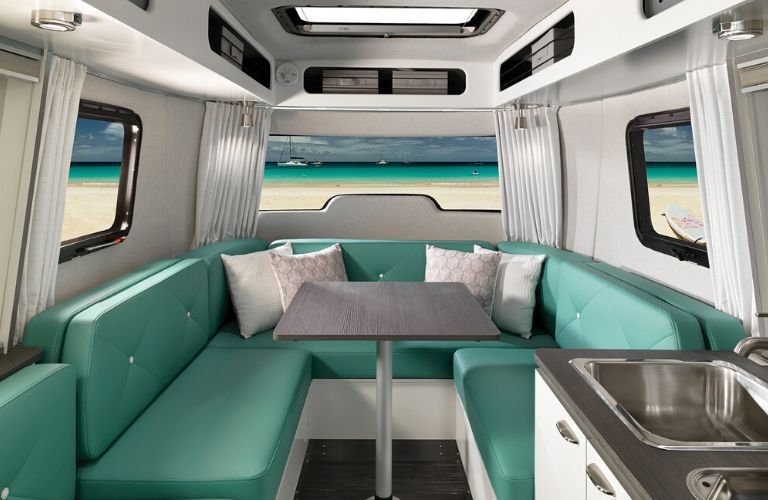 Interior view of the front of a 2020 Airstream Nest