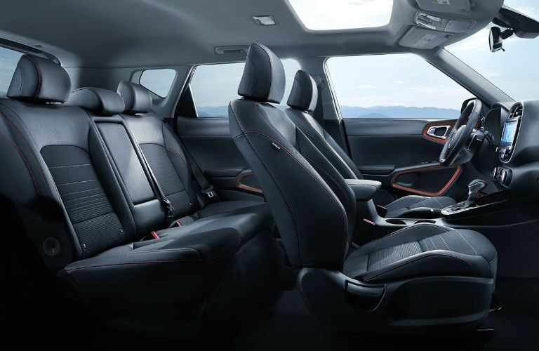 Interior view of the black seating available inside a 2020 Kia Soul