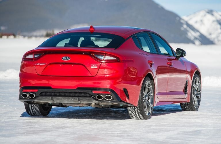 Exterior view of the rear of a red 2020 Kia Stinger