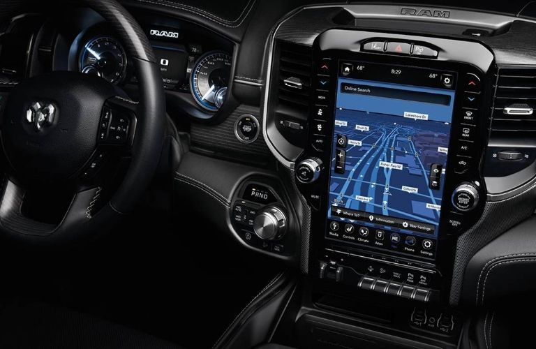 2020 RAM 1500 dash and screen view