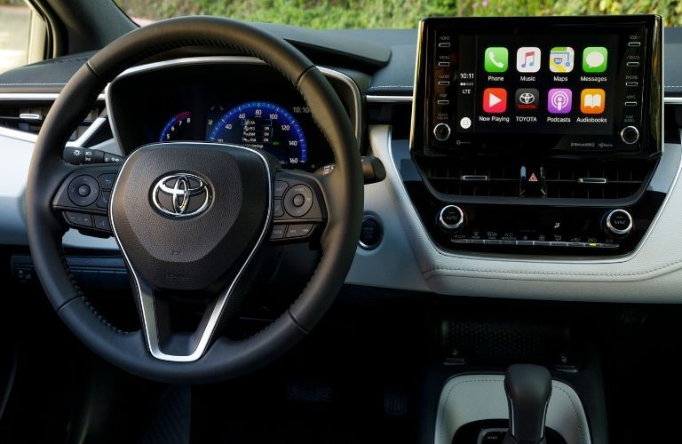 2020 Toyota Corolla Hatchback steering wheel and touchscreen display