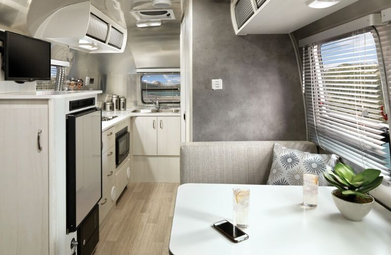 Interior view of the front area inside a 2020 Airstream Bambi