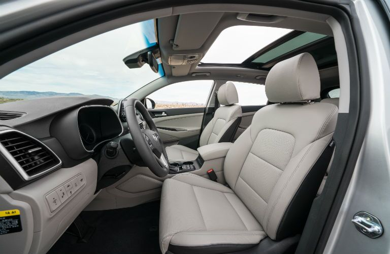 A photo of the front seats in the 2021 Hyundai Tucson.