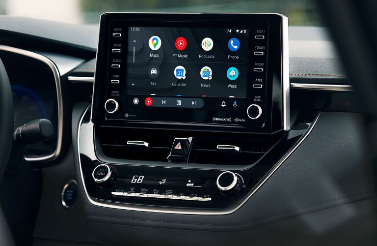 A photo of the touchscreen used in the 2021 Toyota Corolla Hybrid.