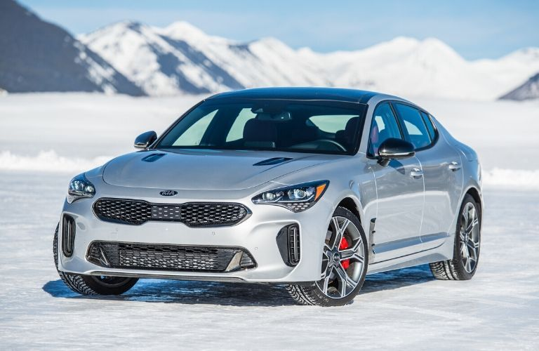 Exterior view of the front of a silver 2020 Kia Stinger