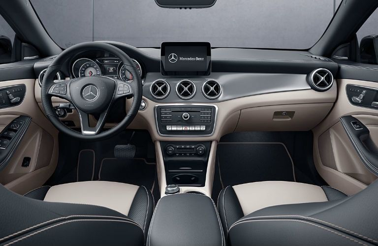 Front seats and dashboard in the 2019 Mercedes-Benz CLA Coupe