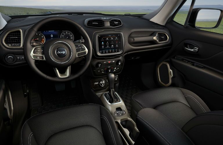 An interior photo of the dashboard of the 2020 Jeep Renegade.