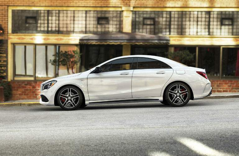 2017 Mercedes-Benz CLA Coupe driving downtown