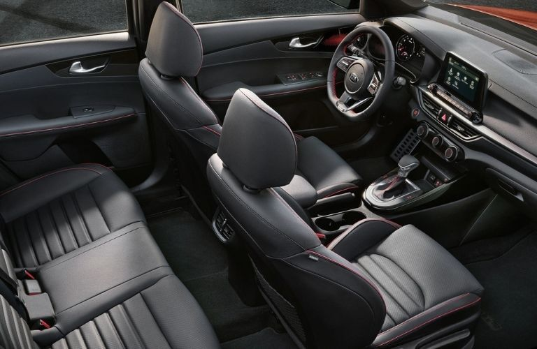 Interior view of the two rows of seating inside a 2021 Kia Forte