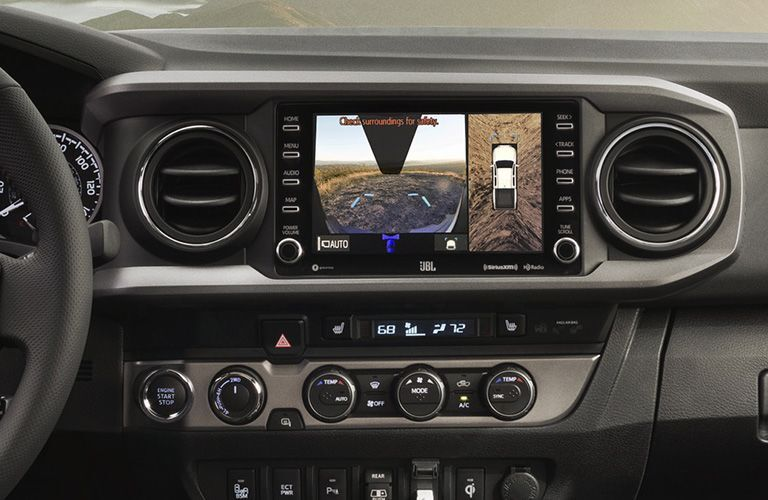 A photo of the rear view camera display in the 2020 Toyota Tacoma.