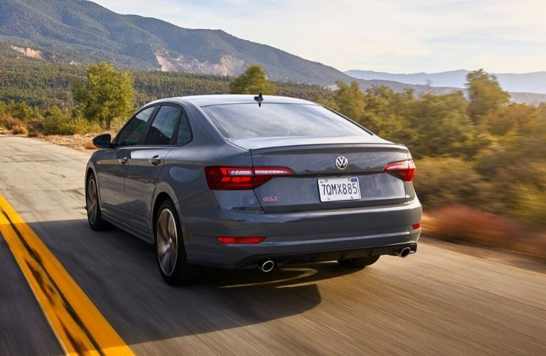 Exterior view of the rear of agray 2020 Volkswagen Jetta GLI