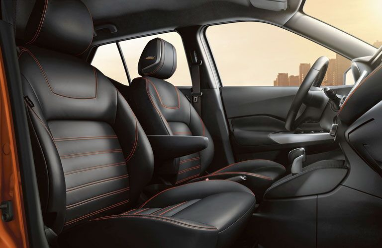 2020 Nissan Kicks front row seats with orange stitching