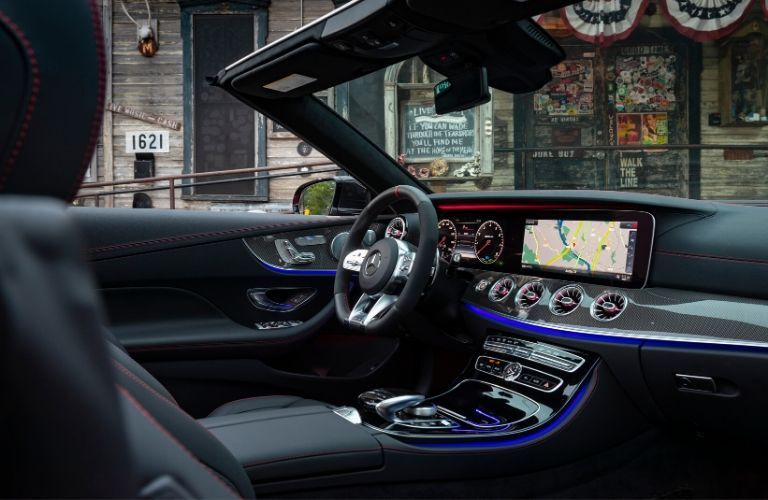 2020 MB E-Class Cabriolet interior front cabin steering wheel dashboard hood down