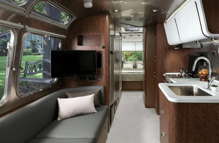 interior of 2020 Airstream Globetrotter showing kitchen and sitting area