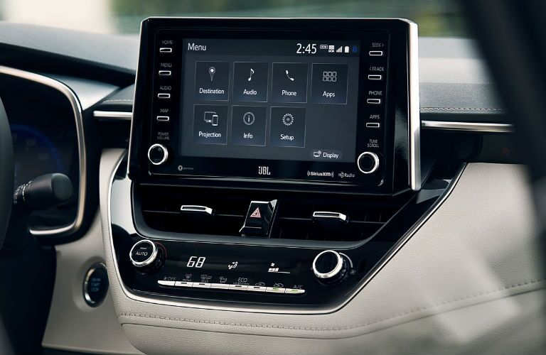A photo of the new touchscreen used in the 2021 Toyota Corolla.