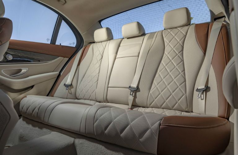 A photo of the rear seats in the 2021 Mercedes-Benz E 350 4MATIC®.