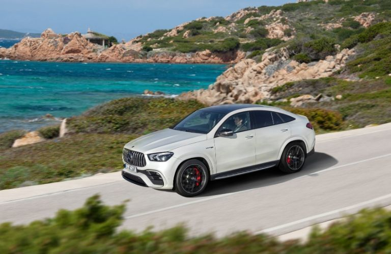 2021 MB AMG GLE exterior front fascia driver side in front of ocean