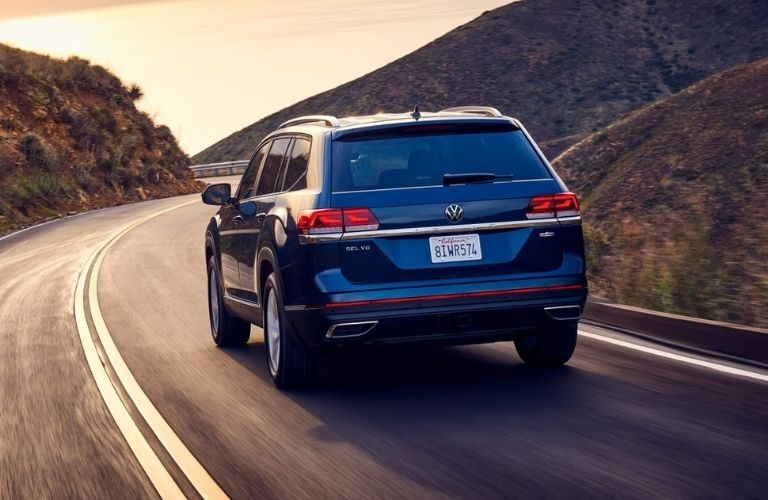 Exterior view of the rear of a blue 2021 Volkswagen Atlas