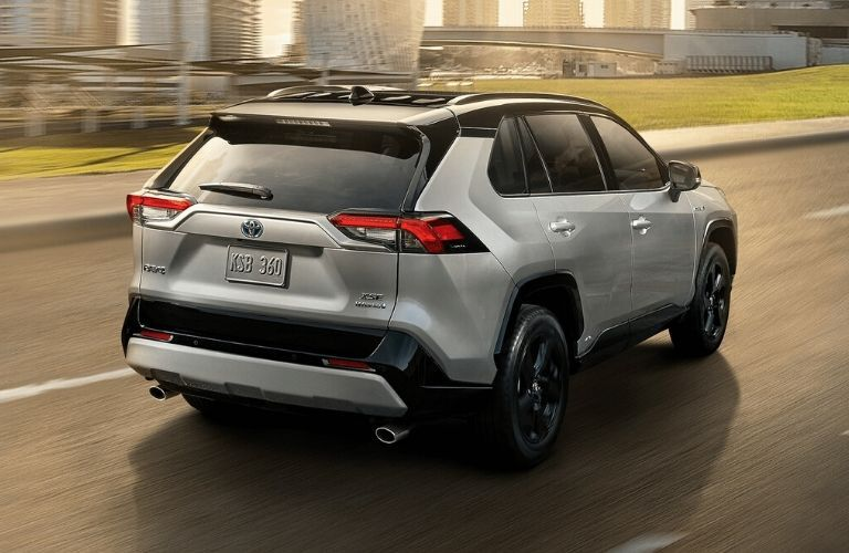 Exterior view of the rear of a gray 2020 Toyota RAV4