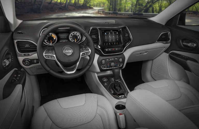 The front interior inside a 2021 Jeep Cherokee.