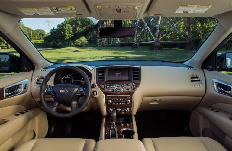 Interior view of the front seating area inside a 2020 Nissan Pathfinder