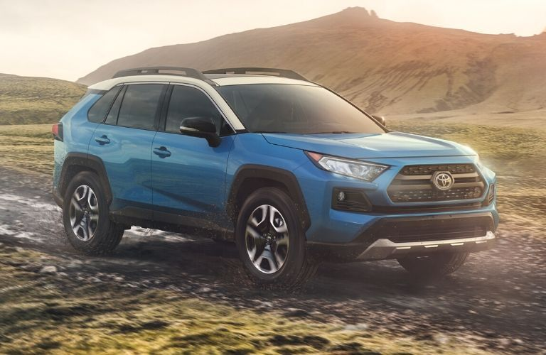 Exterior view of the front of a blue 2020 Toyota RAV4