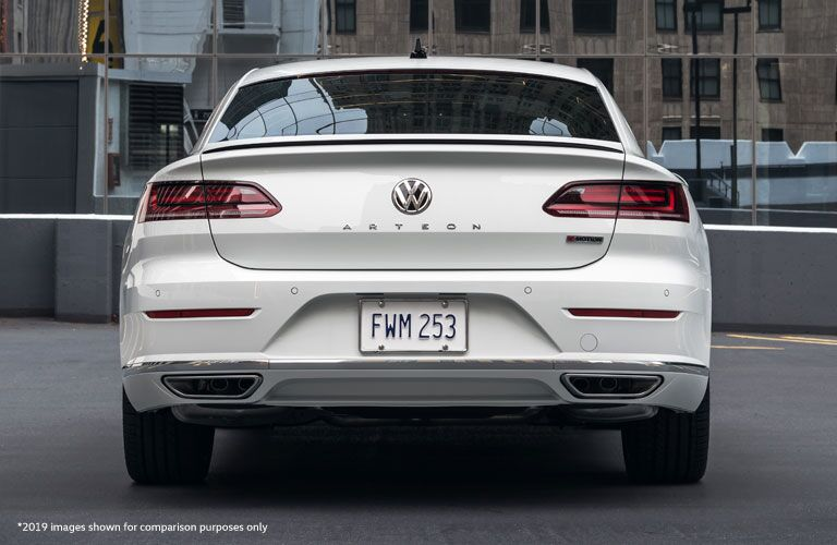 Exterior view of the rear of a white 2020 Volkswagen Arteon