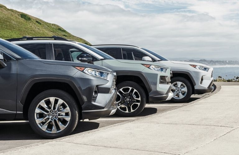 Three 2020 Toyota RAV4 models showing front bumpers