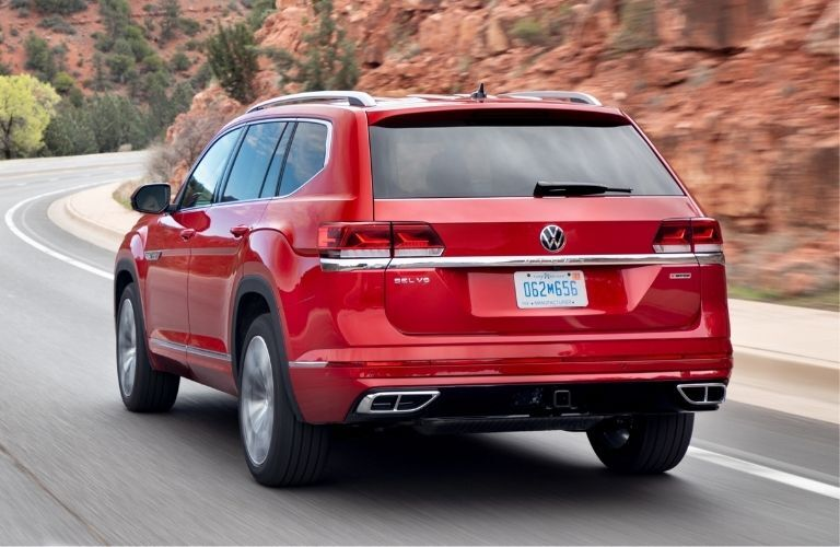 Exterior view of the rear of a red 2021 Volkswagen Atlas