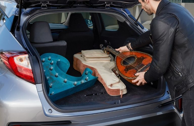 Interior view of the rear cargo area inside a 2020 Toyota C-HR
