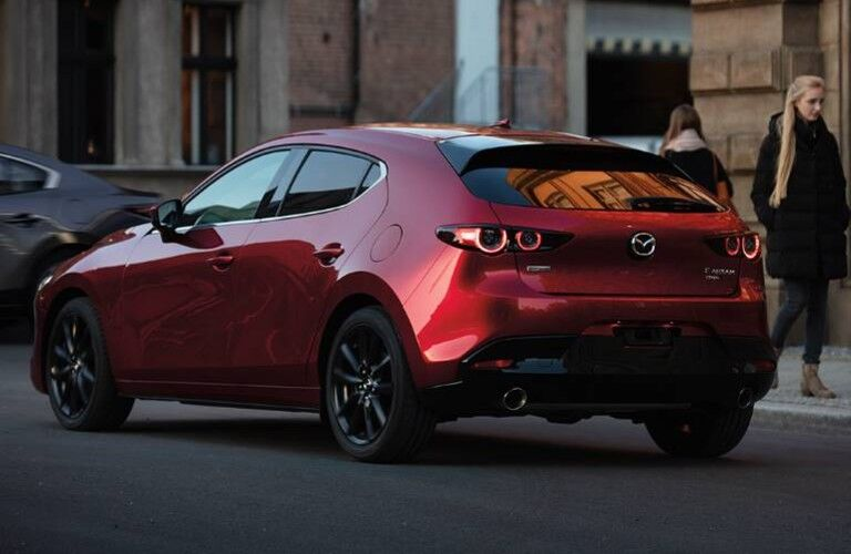 rear view of red 2020 Mazda3 Hatchback