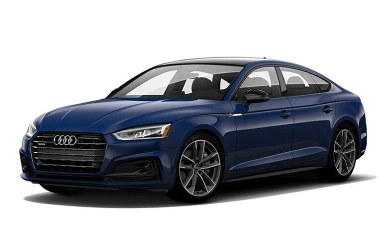 Driver's side front angle view of blue 2019 Audi A5 Sportback