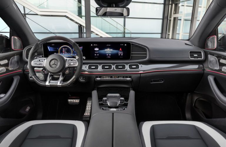 A photo of the dashboard and technology available in the 2021 Mercedes-AMG® GLE 63 S Coupe.