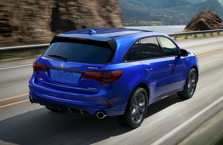 2020 Acura MDX rear in blue