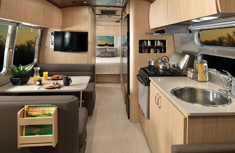 Interior view of the rear half of the 2020 Airstream Flying Cloud