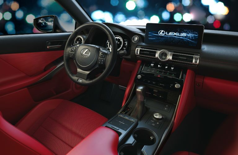 A photo of the driver's cockpit in the 2021 Lexus IS.