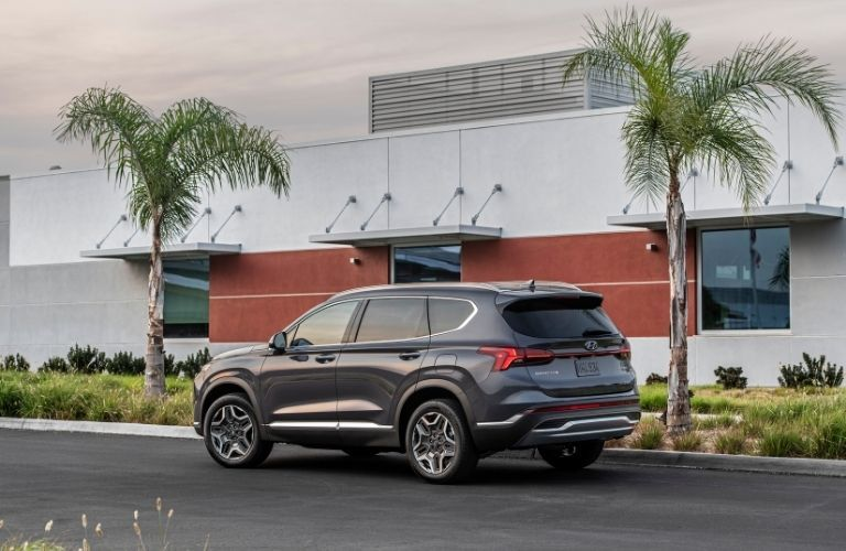 2021 Hyundai Santa Fe exterior rear fascia driver side in front of building