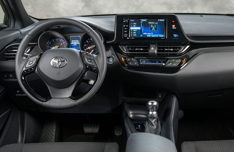 An image of the front interior inside a 2020 Toyota C-HR.